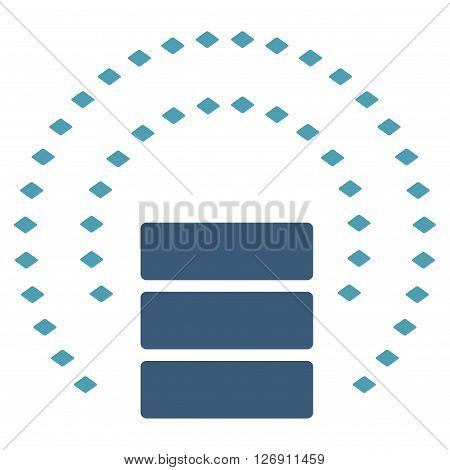 Database Sphere Shield vector toolbar icon. Style is bicolor flat icon symbol, cyan and blue colors, white background, rhombus dots.