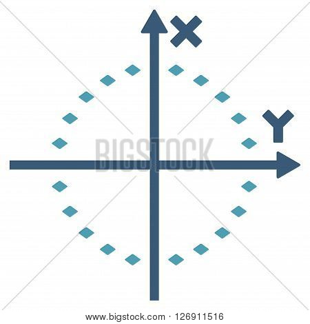 Dotted Circle Plot vector toolbar icon. Style is bicolor flat icon symbol, cyan and blue colors, white background, rhombus dots.