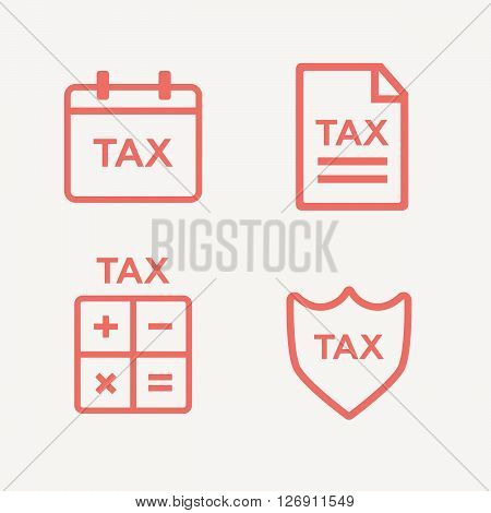 Line tax icons. Tax money, finance tax business, document tax. Vector illustration
