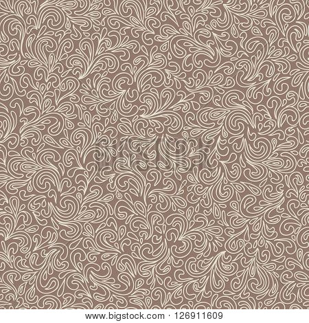 Abstract hand-drawn leafy doodle seamless pattern in vintage brown colors.