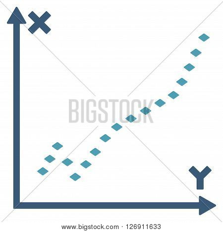 Dotted Function Plot vector toolbar icon. Style is bicolor flat icon symbol, cyan and blue colors, white background, rhombus dots.
