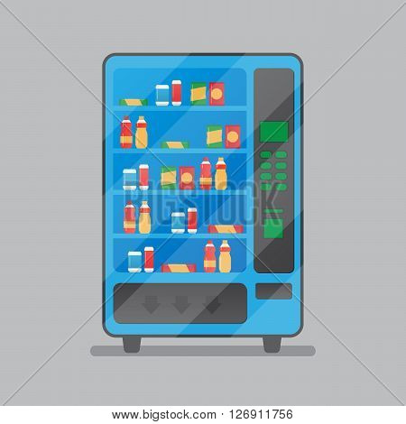 Vending machine with snacks and drinks vector