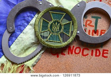 ILLUSTRATIVE EDITORIAL.Chevron of Ukrainian nationalist battalion. At April 17,2016 in Kiev, Ukraine