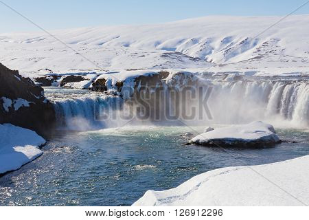 Godafoss falls, Iceland waterfall natural landscape background ** Note: Visible grain at 100%, best at smaller sizes