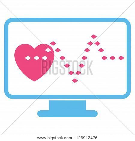 Cardio Monitoring vector toolbar icon. Style is bicolor flat icon symbol, pink and blue colors, white background, rhombus dots.