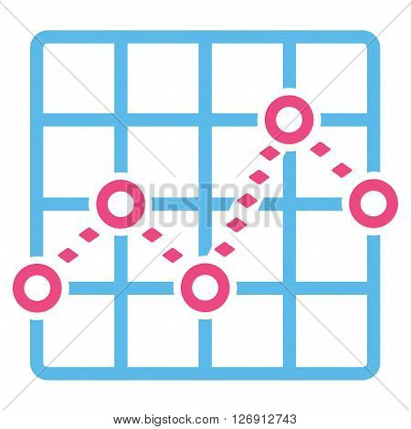 Dotted Line Grid Plot vector toolbar icon. Style is bicolor flat icon symbol, pink and blue colors, white background, rhombus dots.