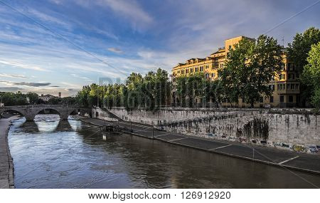 Italy Rome - Brige on Tevere River that bring to Tiberina Island