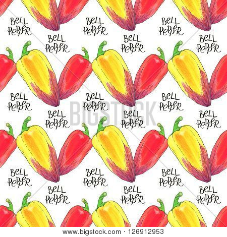Bell pepper. Seamless pattern with hand-drawn vegetable  - paprika or sweet pepper.  Real watercolor drawing.
