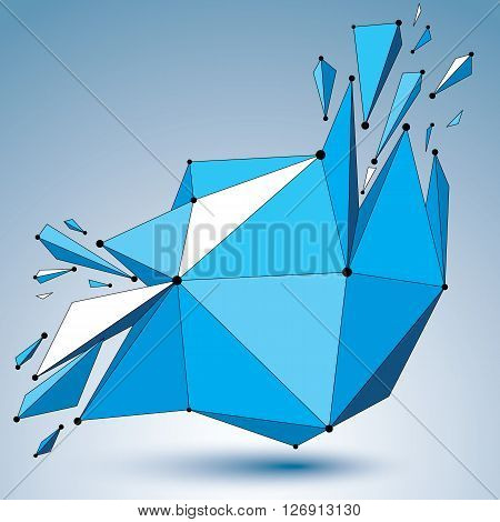 3d vector low poly deformed object with connected black and white lines and dots colorful geometric wireframe shape with fractures.
