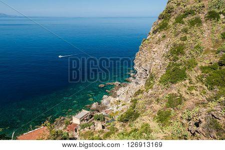 Rocky coastline along