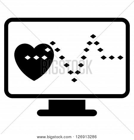 Cardio Monitoring vector toolbar icon. Style is flat icon symbol, black color, white background, rhombus dots.