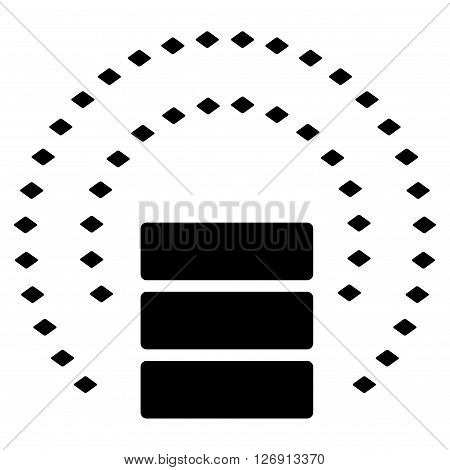 Database Sphere Shield vector toolbar icon. Style is flat icon symbol, black color, white background, rhombus dots.