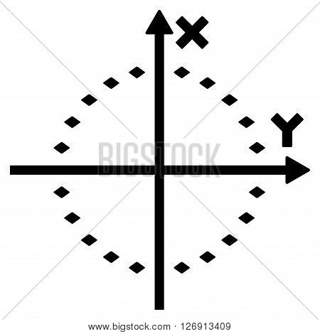 Dotted Circle Plot vector toolbar icon. Style is flat icon symbol, black color, white background, rhombus dots.