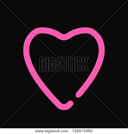 Neon heart  love symbol light design on the black wall vector illustration.