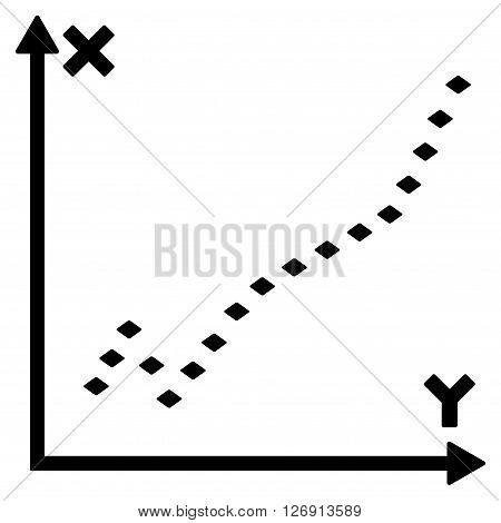 Dotted Function Plot vector toolbar icon. Style is flat icon symbol, black color, white background, rhombus dots.