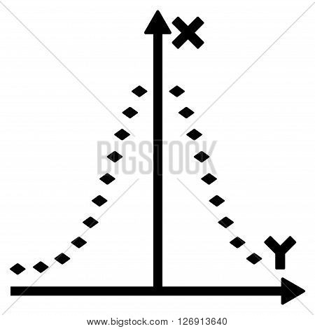 Dotted Gauss Plot vector toolbar icon. Style is flat icon symbol, black color, white background, rhombus dots.