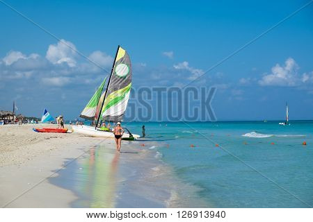 VARADERO, CUBA - APRIL 13,2016 : The beautiful beach of Varadero in Cuba on a sunny  day