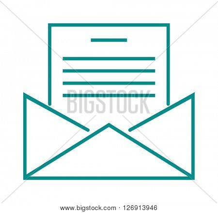 Letter mail icon message business send address sign vector outline illustration.