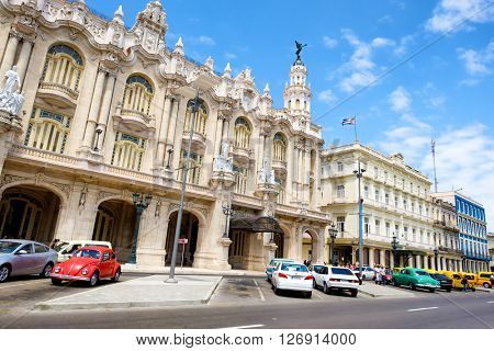 HAVANA,CUBA- APRIL 20,2016 : Urban scene in downtown Havana with a view of the Great Theater and various hotels