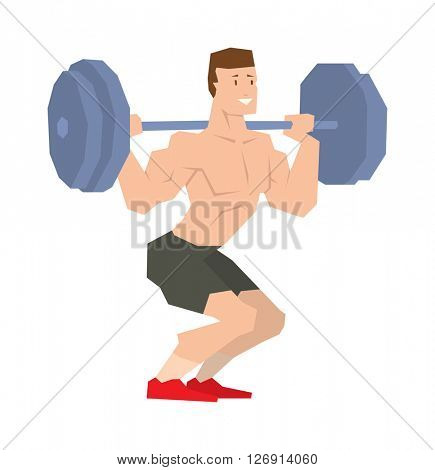 Power athletic man in training up muscles with dumbbell vector.