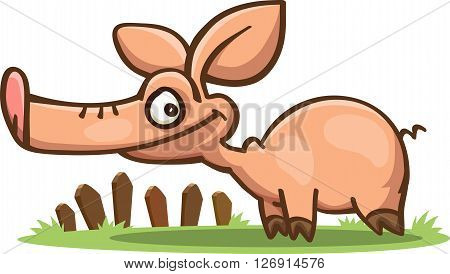 cartoon pig with a long snout standing on the grass vector isolated on white