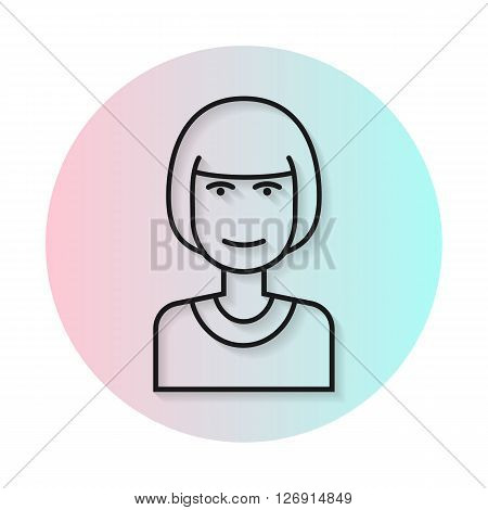 Flat line icon hairstyle woman. Gradient transparent shadow. Kare hairstyle, straight bangs. Vector flat illustration.