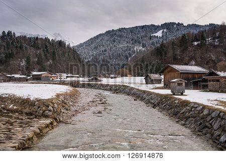 View over a river in Loisach Valley, Garmisch-Partenkirchen, Germany