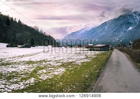 View over a walkway in Loisach Valley, Garmisch-Partenkirchen, Germany