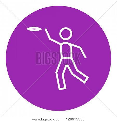 Man playing with flying disc line icon.