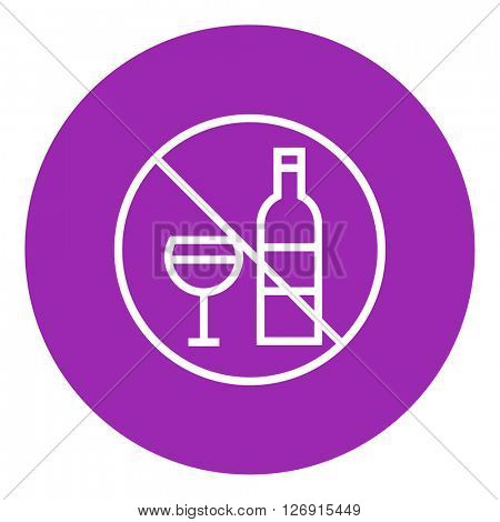 No alcohol sign line icon.