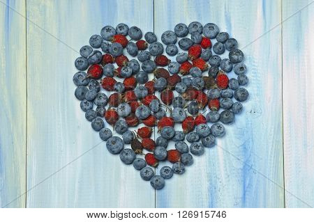 Rosehip Berries And Blueberries In A Heart Shape