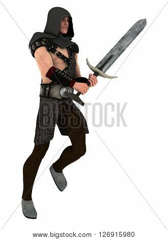 Young handsome guard holding his sword isolated on white background. 3d illustration