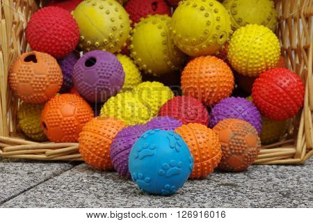 Ball toy for dogs wicker basket group objects.