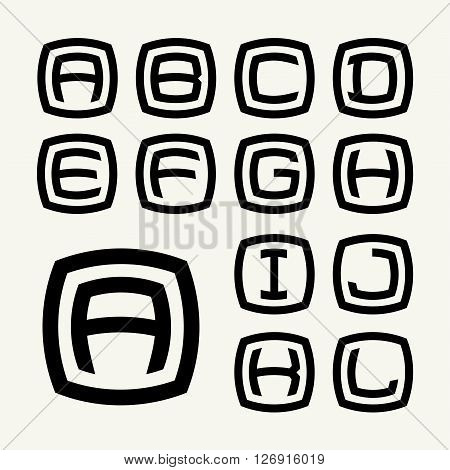 Set 1 Templates capital letters inscribed in rounded square. For emblems, logos and monograms