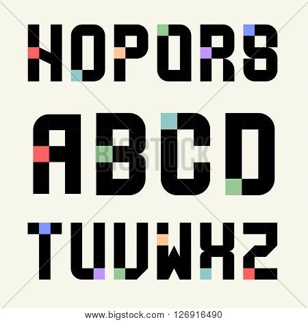 Set 2 Templates capital letters of black blocks with color inserts. Pixel Alphabet. For emblems, logos and monograms