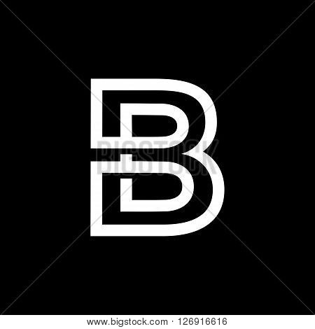 Capital letter B. From the white interwoven strips on a black background. Template for emblem, logos and monograms.