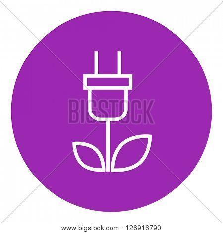 Eco green energy line icon.