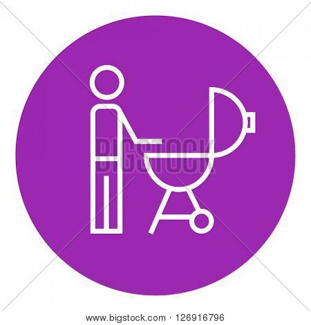 Man at barbecue grill line icon.