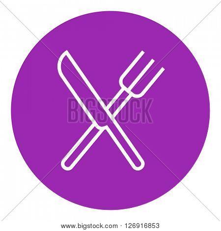 Knife and fork line icon.