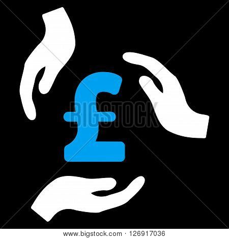 Pound Care Hands vector icon. Pound Care Hands icon symbol. Pound Care Hands icon image. Pound Care Hands icon picture. Pound Care Hands pictogram. Flat pound care hands icon.