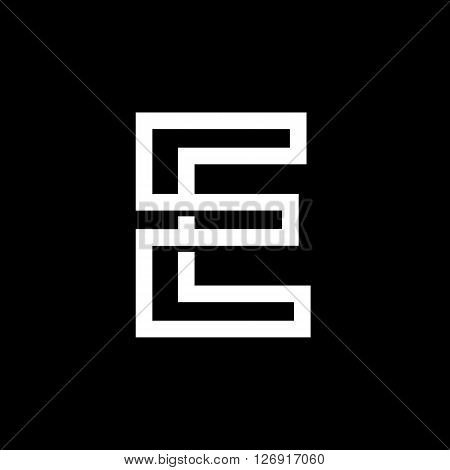 Capital letter E. From the white interwoven strips on a black background. Template for emblem, logos and monograms.