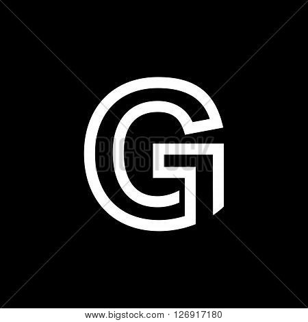Capital letter G. From the white interwoven strips on a black background. Template for emblem, logos and monograms.