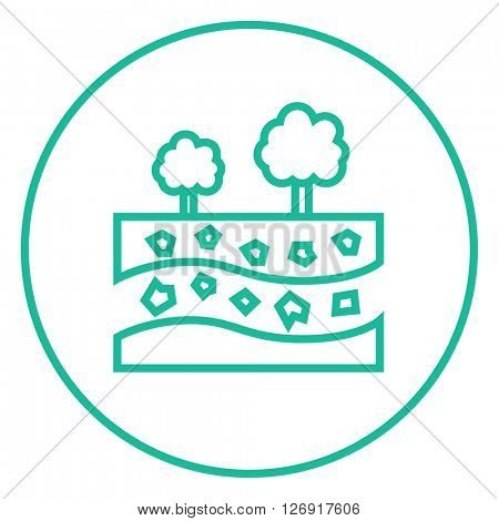 Cut of soil with different layers and trees on top line icon.
