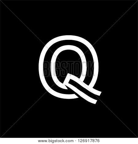 Capital letter Q. From the white interwoven strips on a black background. Template for emblem, logos and monograms.