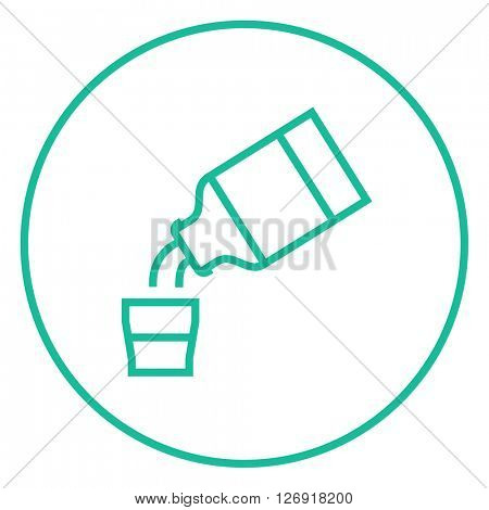 Medicine and measuring cup line icon.