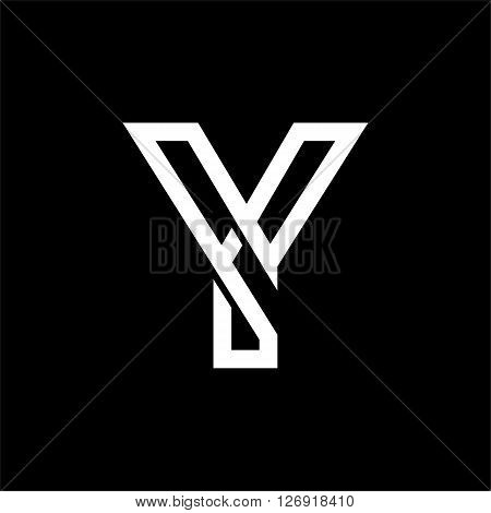 Capital letter Y. From the white interwoven strips on a black background. Template for emblem, logos and monograms.