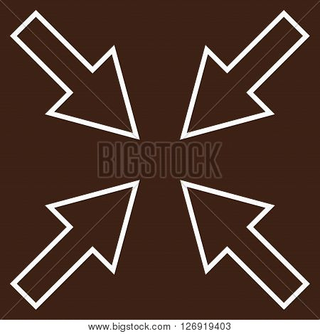 Compact Arrows vector icon. Style is stroke icon symbol, white color, brown background.