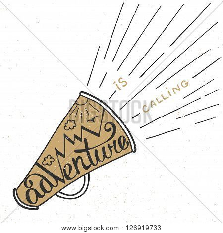 Vector card with hand drawn unique typography design element for greeting cards prints and posters. Adventure is calling in golden mouthpiece with mountains in vintage style. Handwritten lettering.