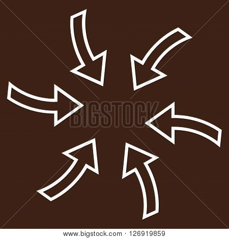 Cyclone Arrows vector icon. Style is thin line icon symbol, white color, brown background.