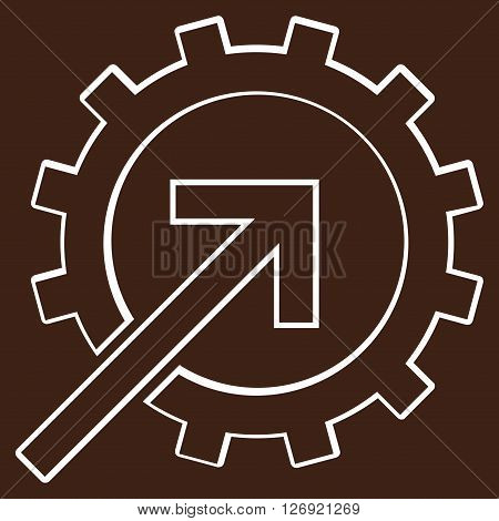 Integration Arrow vector icon. Style is thin line icon symbol, white color, brown background.